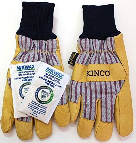 Grain Pigskin (KINCO 1927KW Lined Grain Pigskin Work Gloves with Nikwax Waterproofing (Large))