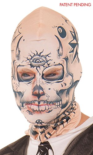 Full Face Scary Sinister Tattoo Face Mask - One Size Fits Most -