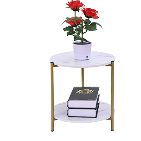 Amazon.com: 2-Tier Round End Table | Side Table | Small ...