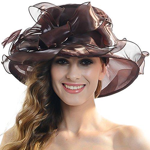 Women Satin Church Christening Derby Kentucky Wedding Formal Party Hat Ss035 (9 Colors) (Chocolate) Baptism Chocolates