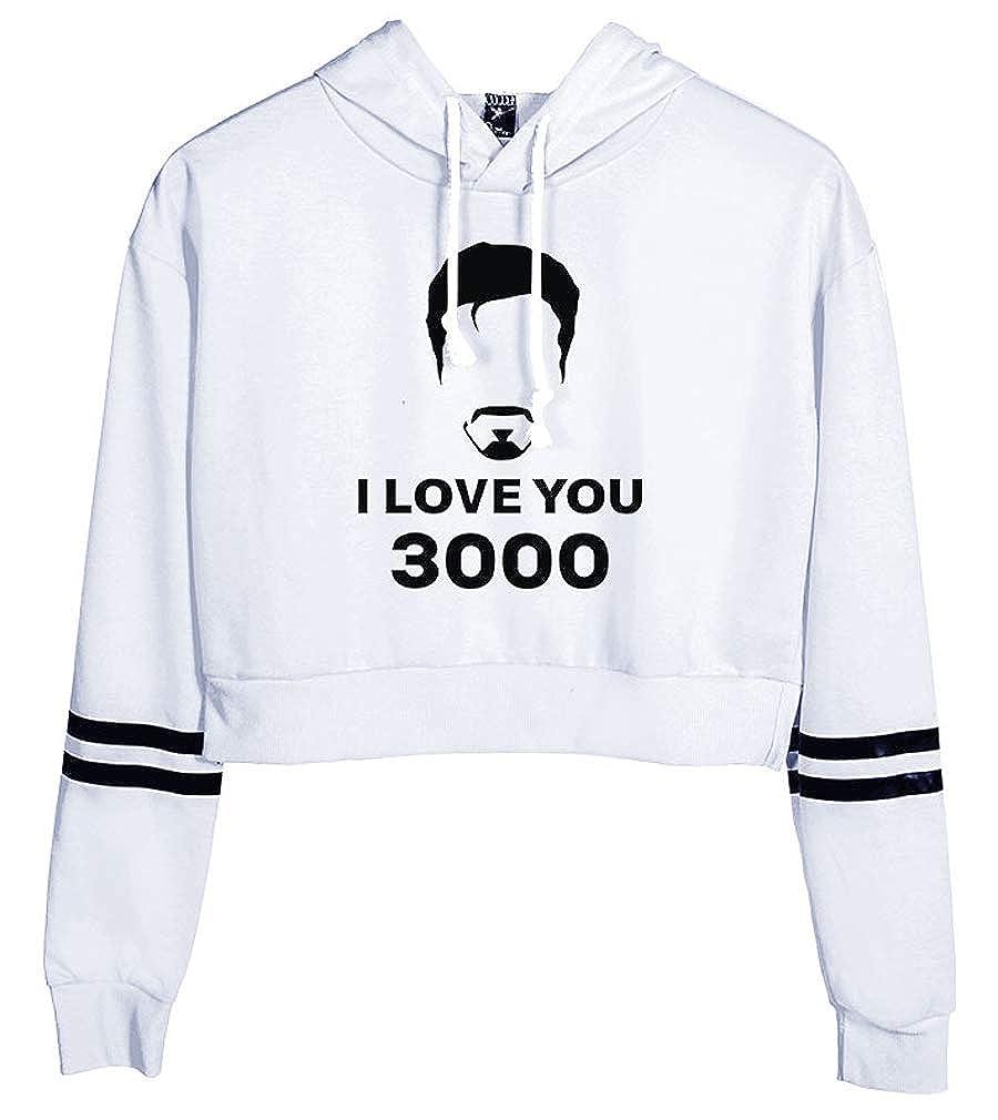 Leslady Felpe con Cappuccio Stampa Dad I Love You 3000 Times Felpe Breve A Manica Lunga Donna Casual Camicia Sportivi Stretch Tumblr Elegante Estiva Maglietta