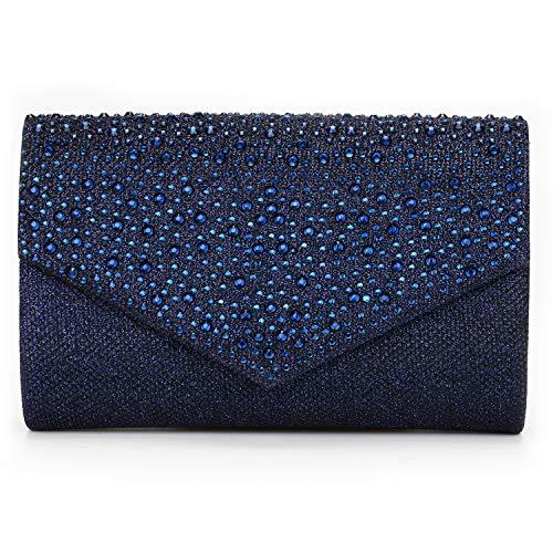 CurvChic Women Evening Bag Clutch Envelope Rhinestone Party Handbag Bridal Prom Purse (Navy Blue)