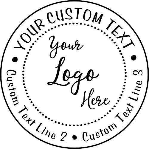 Custom Logo Round Stamp - 3 Lines of Text - Self-Inking Stamper - Rubber Personalized Stamp - Stamps for Local Business - Business Stamps