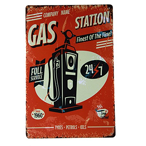 DL-Metal Sign Vintage Retro Shabby Chic Gil Elvgren GAS Station Full Service Tin Wall (Gas Station Sign)