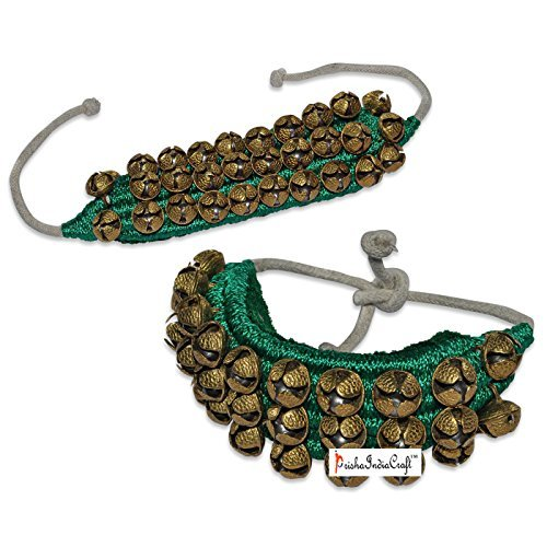 Prisha India Craft Kathak Ghungroo (16 No. Ghungroo) (3) Three Line Big Dancing Bells Ghungroo Pair Handmade Indian Classical Dance Accessories Bharatnatyam, Kuchipudi, Odissi Ghungru Green Pad