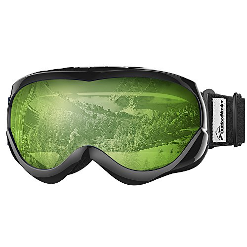 OutdoorMaster Kids Ski Goggles - Helmet Compatible Snow Goggles for Boys & Girls with 100% UV Protection (Black Frame + VLT 80% Light Green (Riot Ski)
