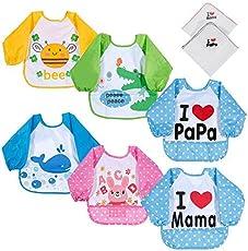 Lictin Unisex 6 pzas Impermeable Baberos del Bebé PEVA de Manga Larga con 2 pzas Baberos Bandana de Algodón,Para Bebé Niños Niñas 6 Meses ~3 Años