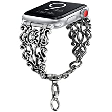 Aokon Bling Bands for Apple Watch Band 38mm, Vintage Chain Jewelry Bracelet with Rhinestone Bling Replacement Wristband Sport Strap for Apple Watch Nike+, Series 3, Series 2, Series 1(Silver Hollow S)