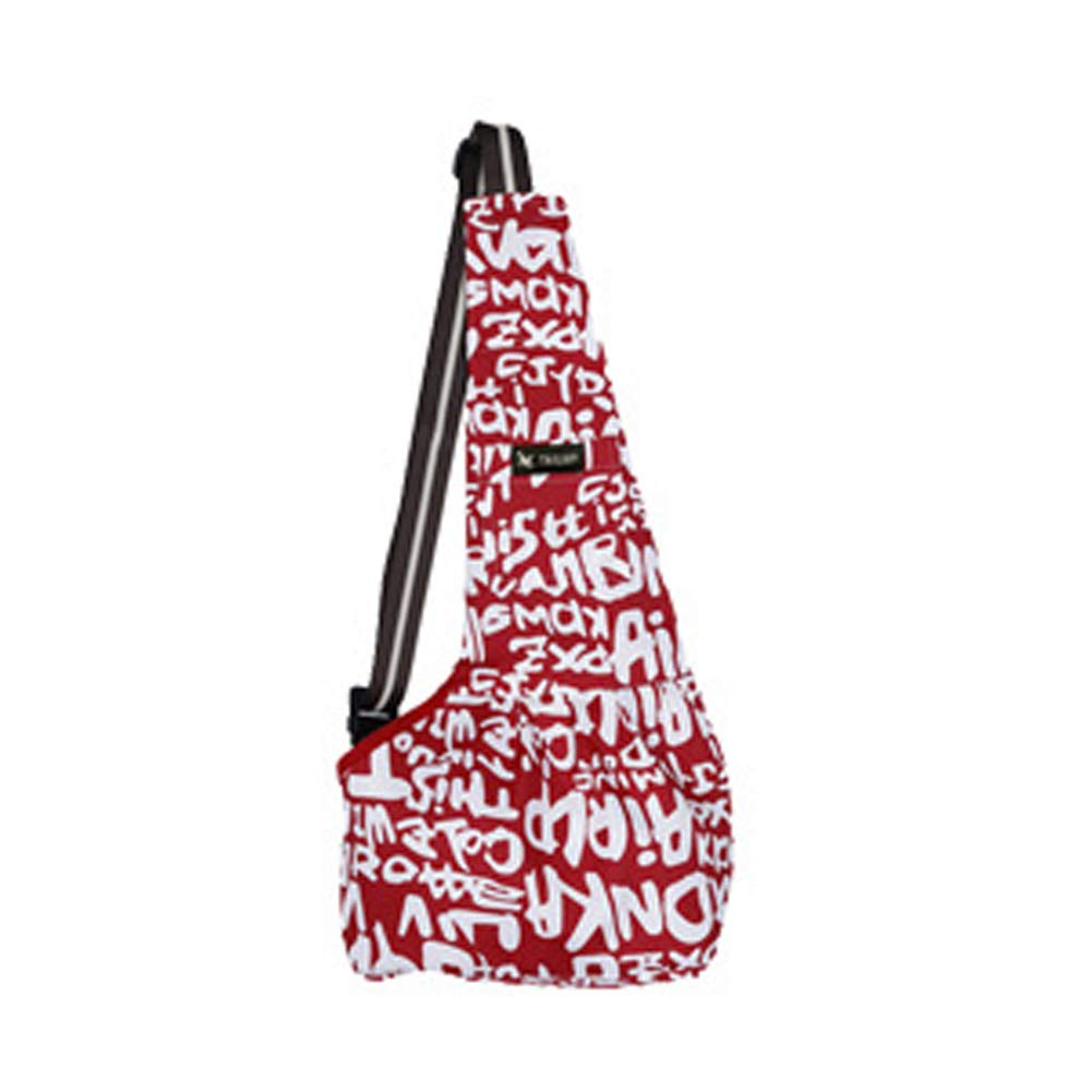 Red Pet Carriers Dog Sling Bag Oxford Cloth Straps are Leaning Out and Portable