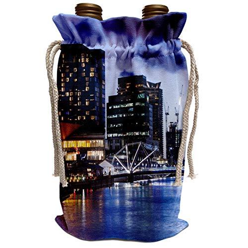 3dRose Danita Delimont - Australia - Australia, Melbourne, South Wharf, Bridge over the Yarra River, dusk - Wine Bag (wbg_226287_1) (South Wharf)