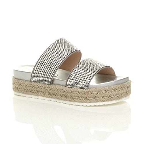 Ajvani Womens Ladies mid Wedge Diamante Platform Flatform Espadrilles Sandals Size Silver cVbTE