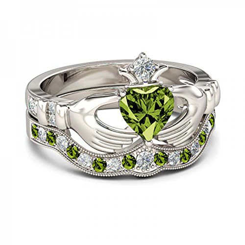 Gems and Jewels 14K White Gold Plated 1.00ct Created Heart Shape Peridot & Round White CZ Engagement Claddagh Ring Set