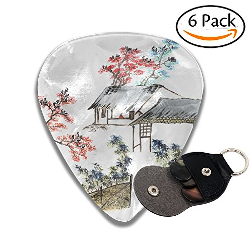 Zakk Wylde Les Paul Guitar - Wxf Classic China Chinese Painting The Old House In The Country Stylish Celluloid Guitar Picks Plectrums For Guitar Bass .46mm 6 Pack