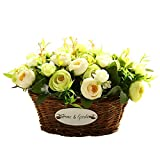 hyxflower Artificial Fake Flowers Arrangements In Oval Basket Silk Plastic Floral Table Centerpieces For Wedding Office Garden Living Room Home Decor