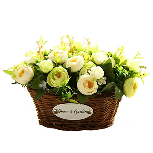 Artificial Rose Flowers Arrangements In Oval Basket Silk Plastic Floral Table Centerpieces For Wedding Office Garden Living Room Home Decor (Dining Room Table Floral Centerpieces)
