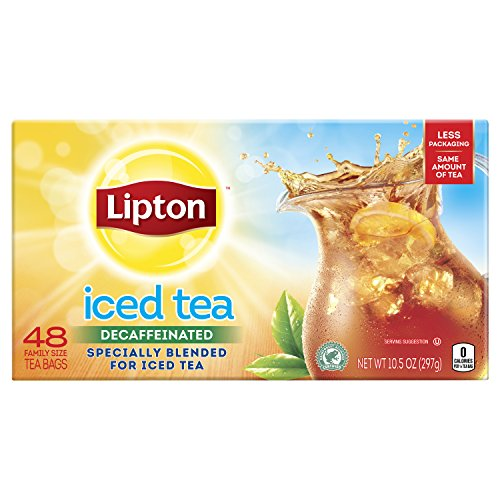 Lipton Family-Sized Black Iced Tea Bags, Decaffeinated, Unsweetened 48 Count, Pack of 6 (Lipton Decaffeinated Tea Bags)