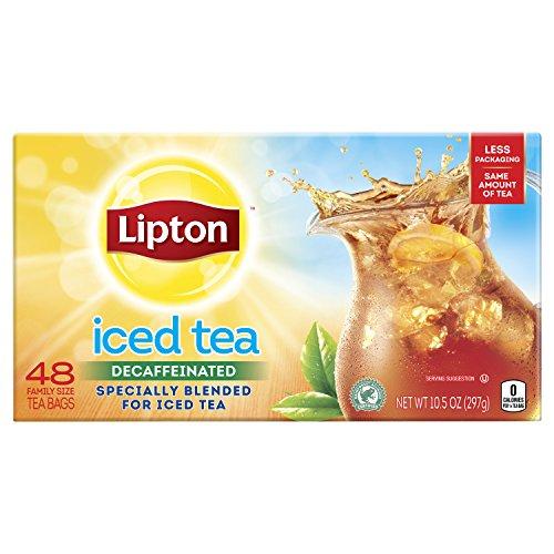 Lipton Family-Sized Black Iced Tea Bags, Decaffeinated, Unsweetened 48 ct