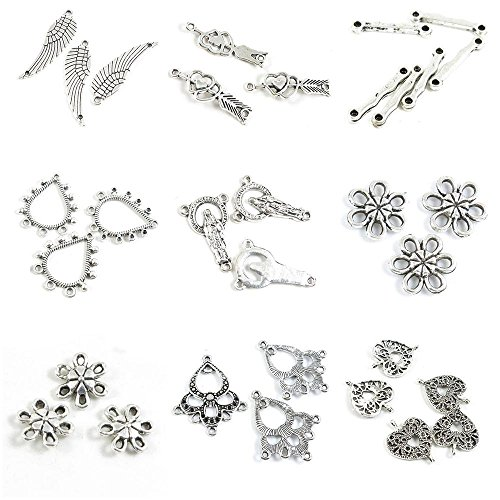 (32 Pieces Antique Silver Tone Jewelry Making Charms Love Heart Connector Ear Drop End Bars Plum Joiner Flower Jesus Stick Bent Arrow Hearts Angel Wings)