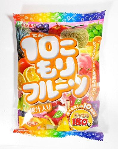 Ribon Tenkomori Japanese Candy 10 Assorted Fruit Flavors Per Bag (50 candies) 6.2 oz.