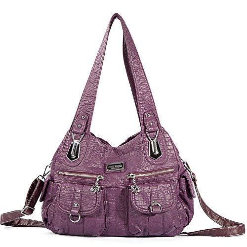 Bag Purple Handbag Women Tote Street ladies' Hobo Bag Shoulder 3105 Pockets Multiple Bag Fashion Roomy PU fRxrz5qZwR