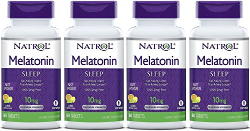 Natrol Melatonin Fast Dissolve Tablets, Citrus Punch 10mg, 60 Count (Pack of 4)
