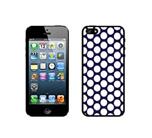 Polka Dots Pattern - Navy Blue - Protective Designer BLACK Case - Fits Apple iPhone 5 / 5S