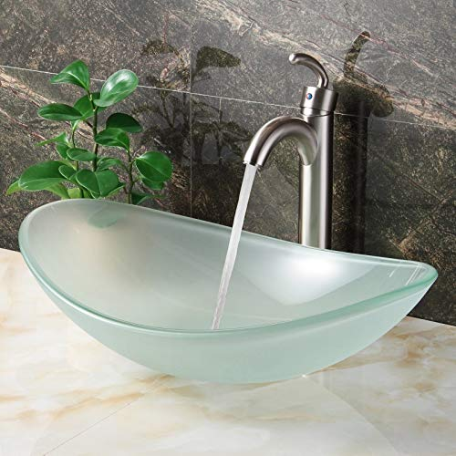 Elite Oval-shape Frosted Tempered Bathroom Glass Vessel Sink and Faucet Combo Nickel Finish