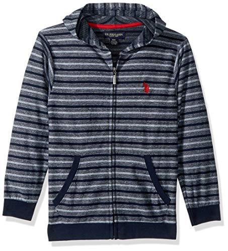 U.S. Polo Assn. Little Boys' Long Sleeve Fleece Hoodie, Light Weight Stripes Classic Navy, ()