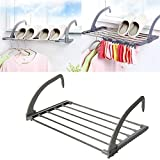 $29.90Folding clothes rack/Outdoor Easy Install Folding Clothes Drying Rack-Hanging over the door or on Guardrail Corridor Balcony Bathroom Windowsill (Gray)