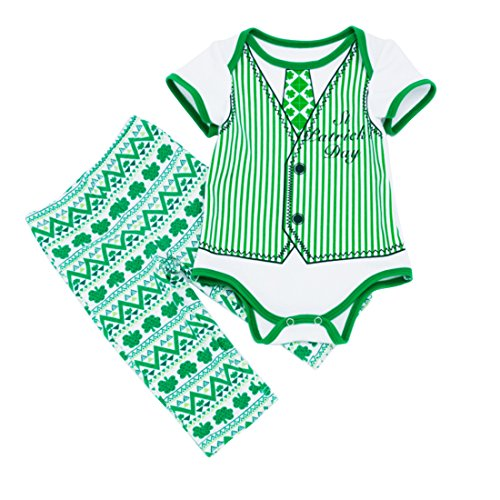 Amberetech ST. Patrick's Day Romper Outfits Infant Boys Irish Party Costume Shamrocks Short Sleeve Pants Suits