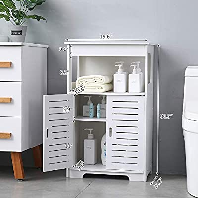 PANFREY Home Bathroom Floor Storage Cabinet with Double Shutter Doors,Free Standing Kitchen Cupboard,Wooden Storage Cabinet with 2 Door,Bookcase Shoe Storage White - ENVIRONMENTAL MATERIAL: Wood-Plastic composites material light and durable no formaldehyde zero pollution environmental protection for health EASY ASSEMBLY : Easy assembly in 5-10 minutes, waterproof. an assembly instruction sheet is included in the package for your reference WATER-PROOF AND EASY TO Clean: This cabinet color is white, but you don't have to worry about its cleaning problems, the rack shelf can be washed directly in water, and then wipe dry - shelves-cabinets, bathroom-fixtures-hardware, bathroom - 51Yas9yEHnL. SS400  -