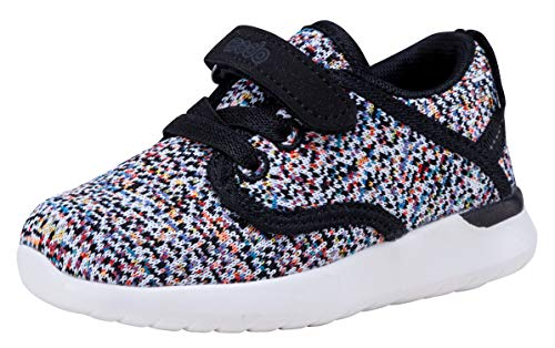 COODO Toddler Kid's Sneakers Boys Girls Cute Casual Running Shoes (4 Toddler,Black Multi) (Childrens Running Shoes)