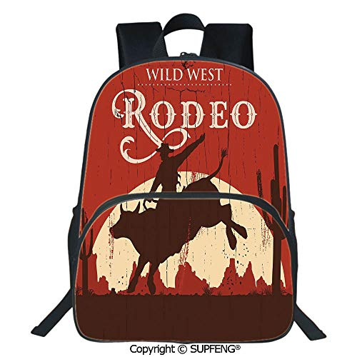 SCOXIXI Backpack Rodeo Cowboy Riding Bull Wooden Old Sign Western Wilderness at Sunset Image (15.75