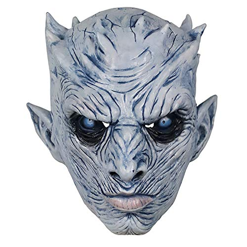 Game of Thrones White Walker Adult Horror Theme Party Halloween Costume Night's King Latex Mask Prop -