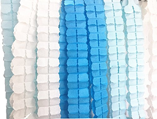 Fonder Mols 6 pack Four-Leaf Tissue Paper Garlands Party Streamers Color White Blue Turquoise (Party Streamer)