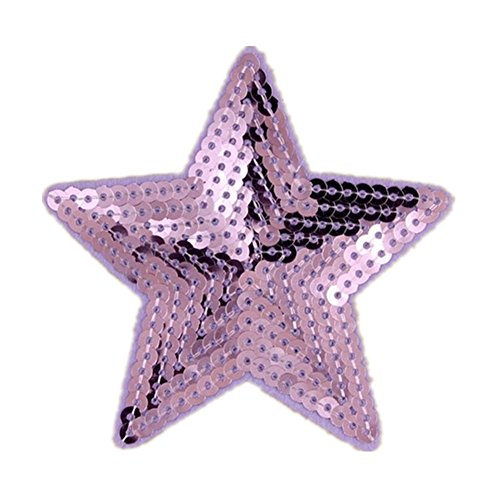 [Ximkee Pack of 10 Shiny 5 Star Sequins Sew Iron on Applique Embroidered Patches-Purple] (Phoenix Costume Diy)
