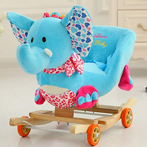 Rocking Horse Baby, 2 in 1 Plush with Wheels,Rocker for Baby Up 0-4 Year Old IndoorOutdoor Toy,Blue