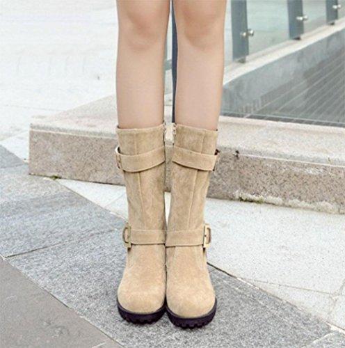 Weiß Stiefel Stiefel und KUKI Winter Damen Gürtelschnalle Stiefel Damen Stiefel Größe Damen Herbst 77pSwT