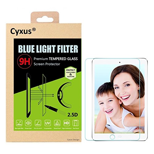 Cyxus Blue Light Filter 9H [Sleep Better] Tempered Glass Screen Protector Compatible for iPad Mini 4 7.9, Eye-Protective, Non-Toxic, Shock-Proof, Great for Children