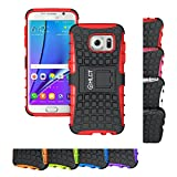 Galaxy S7 Edge Case, HLCT Rugged Shock Proof Dual-Layer Case with Built-In Stand Kickstand (2016) (Red)