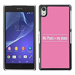 Be Good Phone Accessory // Dura Cáscara cubierta Protectora Caso Carcasa Funda de Protección para Sony Xperia Z2 D6502 D6503 D6543 L50t L50u // BIBLE His Plans > My Plans