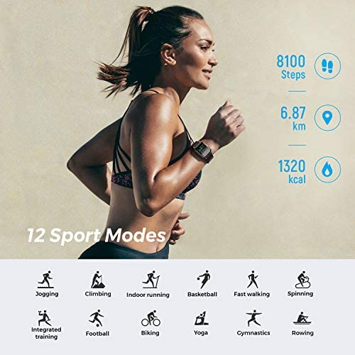 SoundPEATS Watch 1 Smart Sports Watch Health and Fitness Tracker with Heart Rate Monitor Sleep Quality Tracker IP68 Waterproof 1.4″ Color Touch Screen Call & Message Reminder 12 Sports Modes 51Yat1Mu1QL