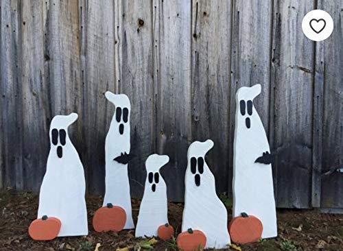 Halloween Yard Decor 17 inch Primitive Wood Ghost with Pumpkin Outdoor Wood Lawn Decoration Spooky Ornament with metal stake -