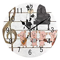 NMCEO Round Wall Clock Funny Pig Piggy Cow Piano Guitar Acrylic Silent Non-Ticking for Home Decor Creative