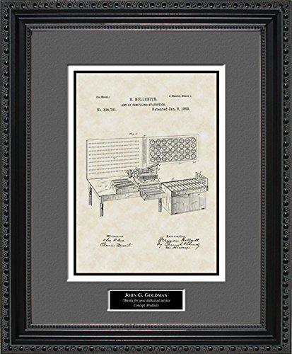 Punch Card Tabulator Patent Art Wall Hanging   Computer Programmer Personalized Gift 11x14