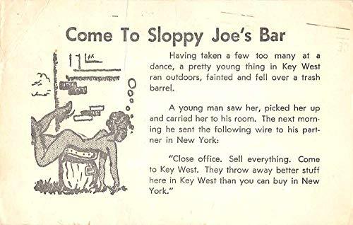 Key West Florida Sloppy Joe's Bar Nude Woman Comic Postcard JF360393