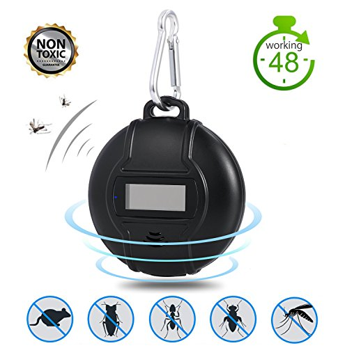 MOORAY Portable Ultrasonic Outdoor Mosquito Repeller Micro USB Powered Pest Repellent for Home Insect with Built-in Compass Repeller