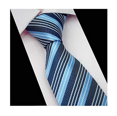 Mens Casual Light Blue Navy White Herringbone Silk Ties Designer Brands Neckties