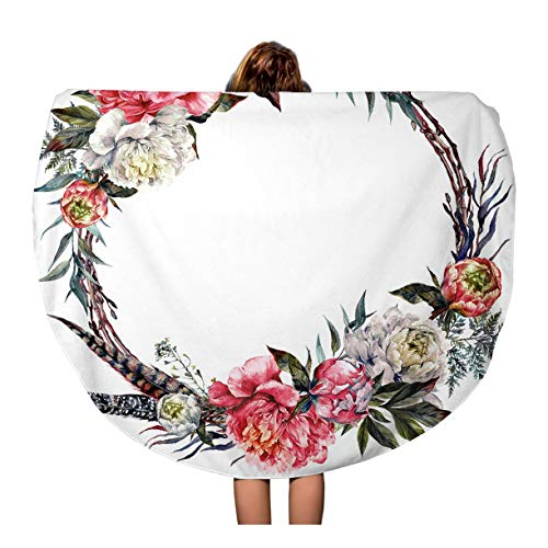 Semtomn 60 Inches Round Beach Towel Blanket Watercolor Floral Wreath Made of Peonies Leaves Pheasant Feathers Travel Circle Circular Towels Mat Tapestry Beach Throw - Pheasant Wreaths Feather