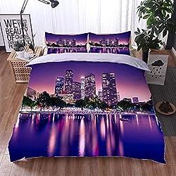 HOOMORE Bed Comforter - 3-Piece Duvet -All Season, Los Angeles,HypoallergenicDuvet-MachineWashable -Twin-Full-Queen-King-Home-Hotel -School